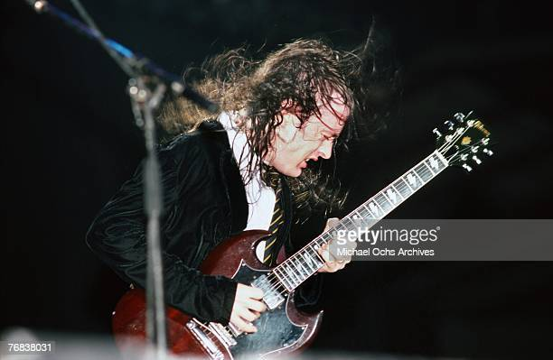 Guitarist Angus Young of AC/DC shreds a solo during a concert on October 18 at the Forum in Inglewood California
