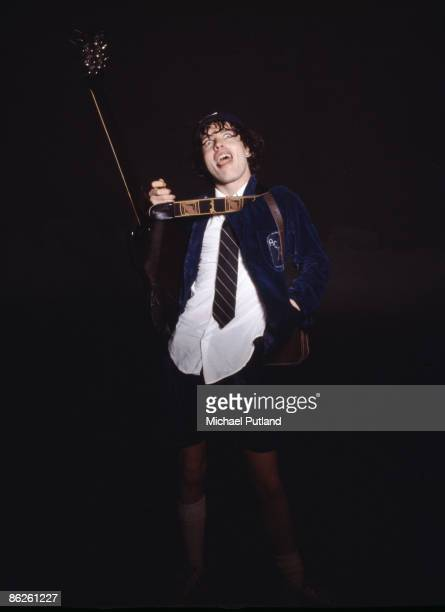 Guitarist Angus Young of Australian rock band AC/DC during a photoshoot in London 1976