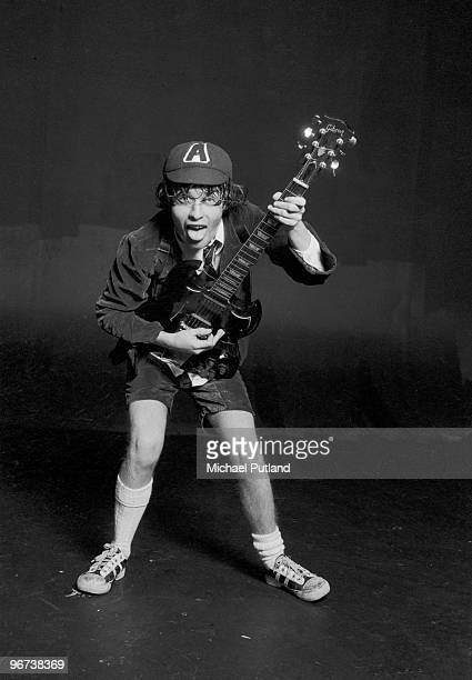 Guitarist Angus Young of heavy rock group AC/DC 1976
