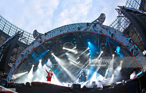 Guitarist Angus Young of the Australian band AC/DC performs live during a concert at the Olympiastadion on June 25 2015 in Berlin Germany