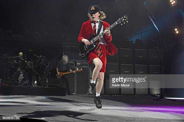 Guitarist Angus Young performs onstage during the AC/DC Rock Or Bust Tour at Madison Square Garden on September 14 2016 in New York City