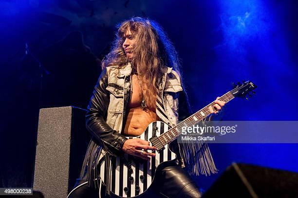 Guitarist Axel Ritt of Grave Digger performs at The Fillmore on November 19 2015 in San Francisco California