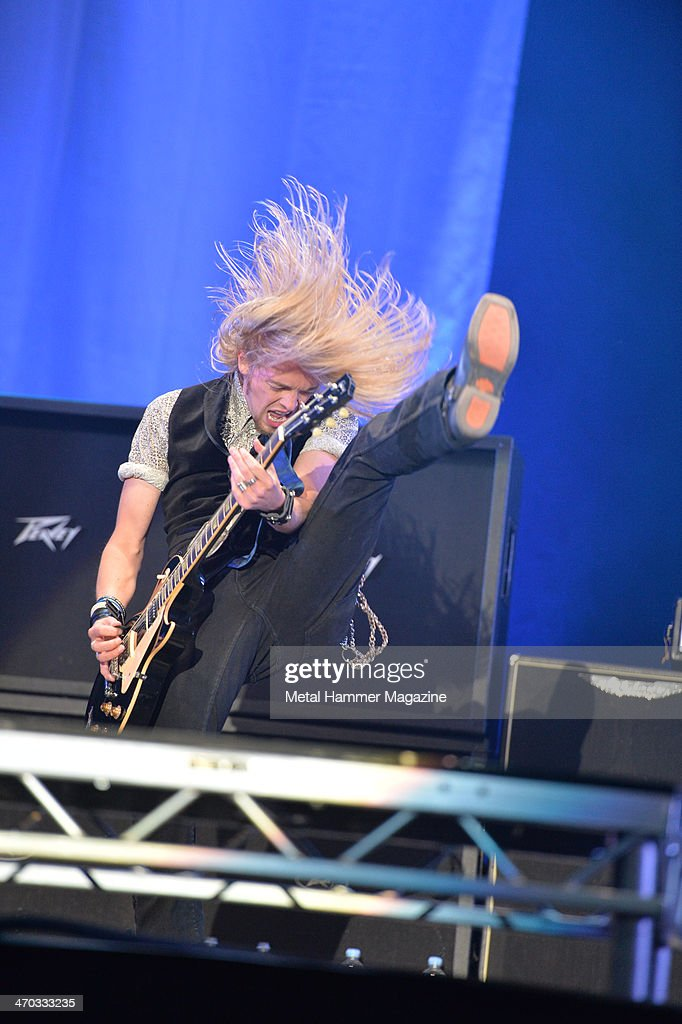 Guitarist Ben Wells of American hard rock group Black Stone Cherry performing live on the Zippo Encore Stage at Download Festival on June 14, 2013.