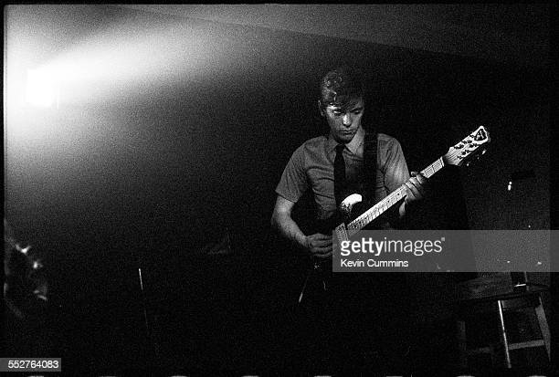 Guitarist Bernard Sumner performing with English rock group Joy Division at the Russell Club also known as The Factory Manchester 1979