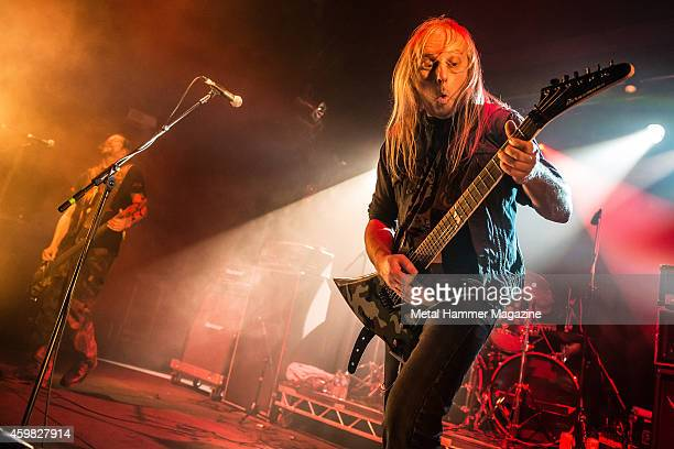 Guitarist Bernd Kost and bassist Thomas Such of German thrash metal group Sodom performing live on the Rising Sun stage at Hammerfest heavy metal...