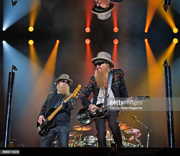 Guitarist Billy Gibbons and bassist Dusty Hill of American rock group ZZ Top performing live on stage during Ramblin' Man Fair at Mote Park in...