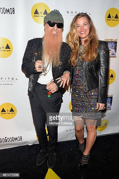 Guitarist Billy Gibbons and wife Gilligan Stillwater attends Adopt The Arts Live Benefit Concert For LAUSD Elementary Schools at The Roxy Theatre on...