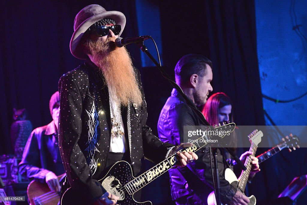 Guitarist Billy Gibbons of ZZ Top and guitarist Billy Duffy of The Cult performs on stage at The Roxy Theatre on January 12, 2015 in West Hollywood, California.