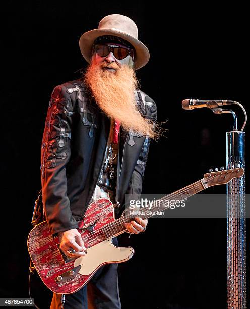 Guitarist Billy Gibbons of ZZ Top performs at The Mountain Winery on September 11 2015 in Saratoga California