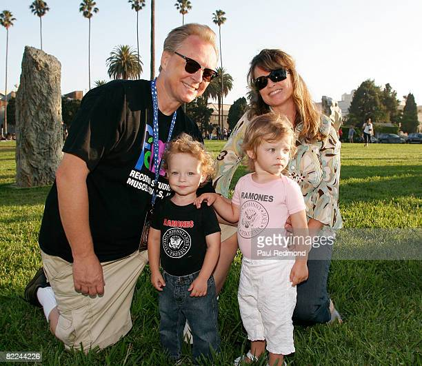Guitarist Billy Zoom of X poses with his family at the Tribute To Legendary Ramones Guitarist Johnny Ramone at the Hollywood Forever Cemetery on...