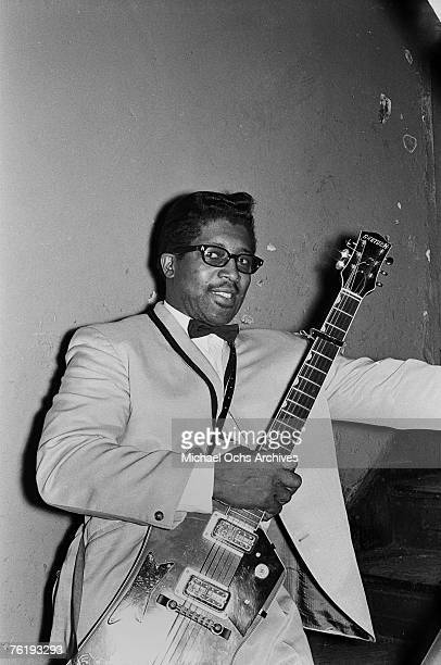 Guitarist Bo Diddley gets ready to go onstage circa mid1964 at the Apollo Theater in Harlem New York