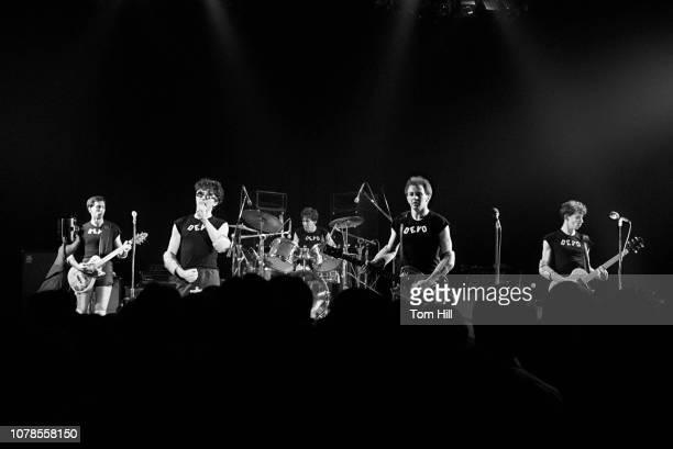 Guitarist Bob Casale singerguitarist Mark Mothersbaugh drummer Alan Myers bassist Gerald Casale and guitarist Bob Mothersbaugh of Devo perform at The...
