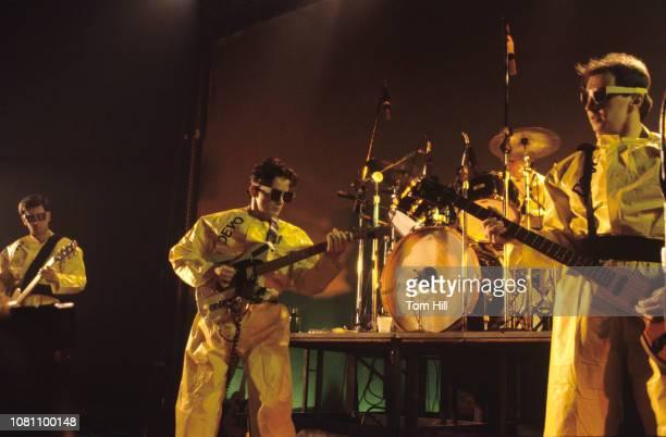 Guitarist Bob Casale singerguitarist Mark Mothersbaugh drummer Alan Myers and bassist Gerald Casale of Devo perform at The Agora Ballroom on July 27...