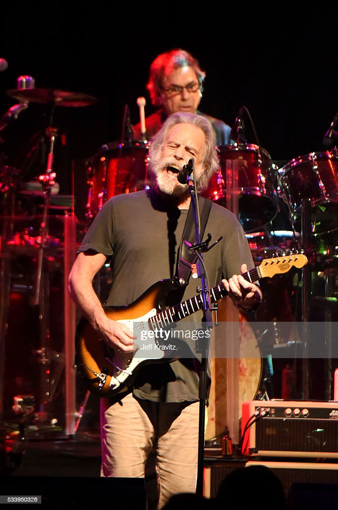 Guitarist Bob Weir and drummer Mickey Hart of Dead and Company perform during the 'Pay it Forward' concert at The Fillmore on May 23, 2016 in San Francisco, California.