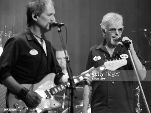 Guitarist Brad Davis performs with singer/actor Billy Bob Thornton of Billy Bob Thornton The Boxmasters inside Rocks Lounge at the Red Rock Resort on...