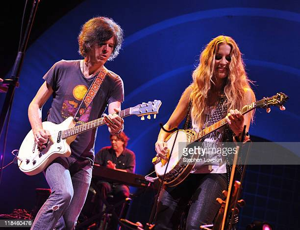 Guitarist Brad Rice and singer/musician Emily Robison of Court Yard Hounds perform during the 2011 Celebrate Brooklyn concert series at the Prospect...
