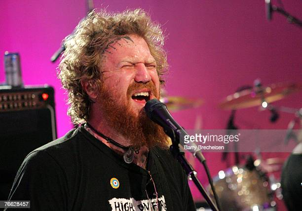 Guitarist Brent Hinds of Mastadon performs during the 2007 MTV Video Music Awards at The Palms Hotel and Casino on September 9 2007 in Las Vegas...