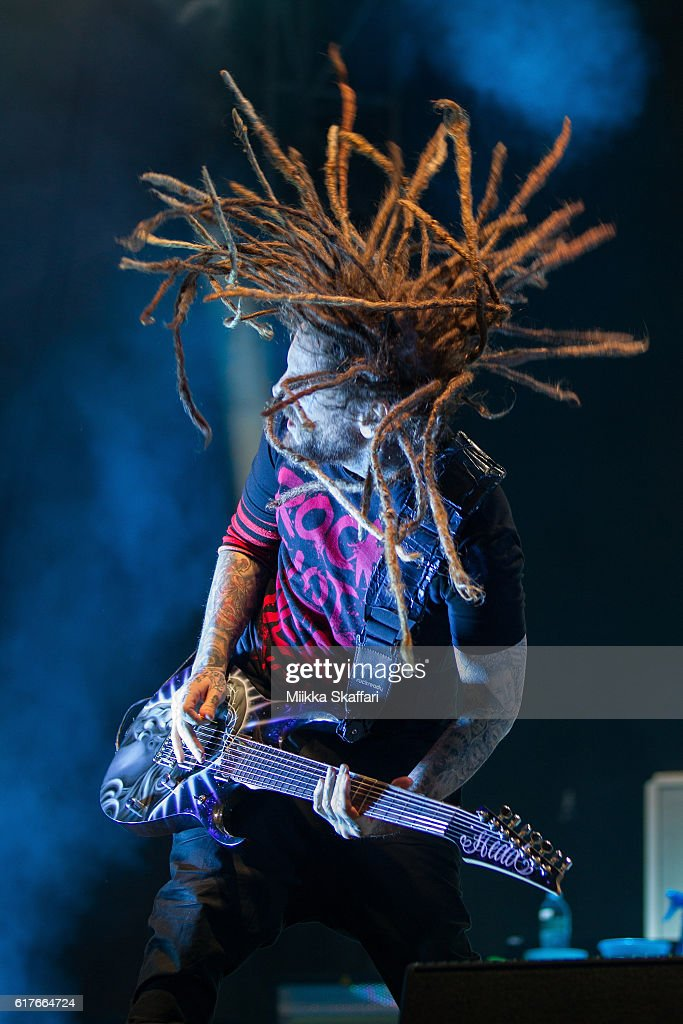 Guitarist Brian 'Head' Welch of Korn performs at Aftershock Festival at Discovery Park on October 23, 2016 in Sacramento, California.