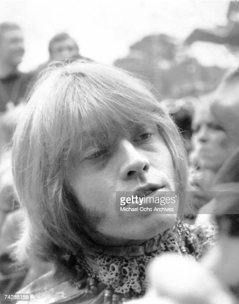 Guitarist Brian Jones of the rock and roll band 'The Rolling Stones' mills about at the Monterey Pop Festival on June 18 1967 in Monterey California
