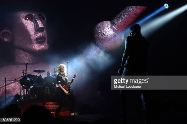 Guitarist Brian May and singer Adam Lambert perform with Queen at Prudential Center on July 26 2017 in Newark New Jersey