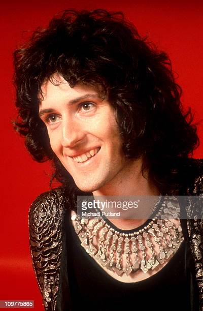 Guitarist Brian May of British rock band Queen poses in London England in 1973