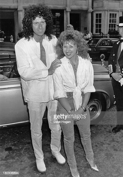 Guitarist Brian May of British rock band Queen with actress and singer Anita Dobson at the launch of their single 'Talking of Love' London 7th July...