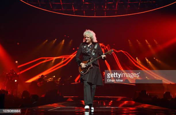 Guitarist Brian May of Queen Adam Lambert performs as the group kicks off its 10date limited engagement The Crown Jewels at Park Theater at Park MGM...