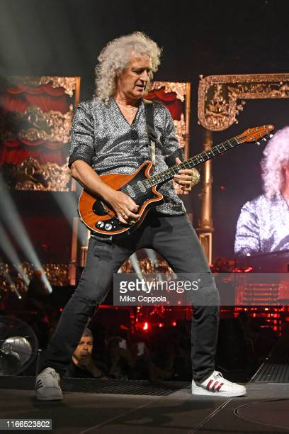 Guitarist Brian May of Queen + Adam Lambert performs at Madison Square Garden on August 06, 2019 in New York City.