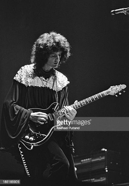 Guitarist Brian May performing with British rock group Queen, UK, November 1973.