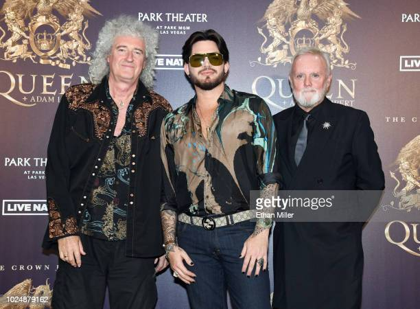 Guitarist Brian May singer Adam Lambert and drummer Roger Taylor of Queen Adam Lambert pose after a news conference at the MGM Resorts aviation...