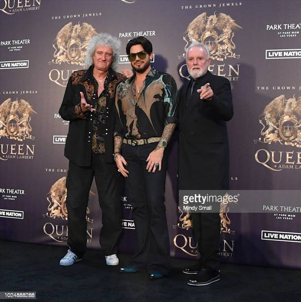 Guitarist Brian May singer Adam Lambert and drummer Roger Taylor of Queen Adam Lambert pose at the MGM Resorts aviation hangar to kick off the...