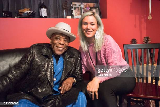 Guitarist Buddy Guy and singer Joss Stone relax backstage at Buddy Guy's Legends in Chicago, Illinois, January 6, 2019.