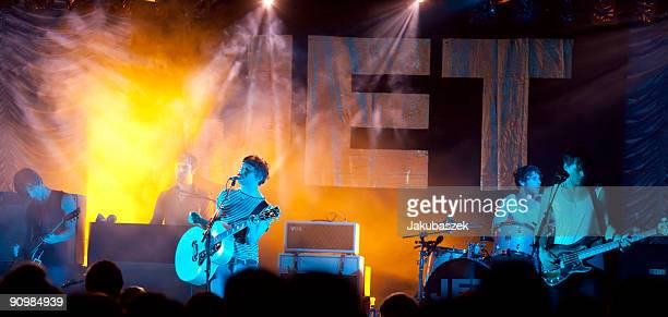 Guitarist Cameron Muncey Singer Nic Cester drummer Chris Cester and bassist Mark Wilson of the Australian Rock band Jet perform live during a concert...