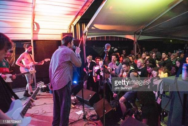 Guitarist Carlos O'Connell and singer Grian Chatten of Fontaines D.C. Perform live on stage during the 2019 SXSW Conference and Festival at the Swan...