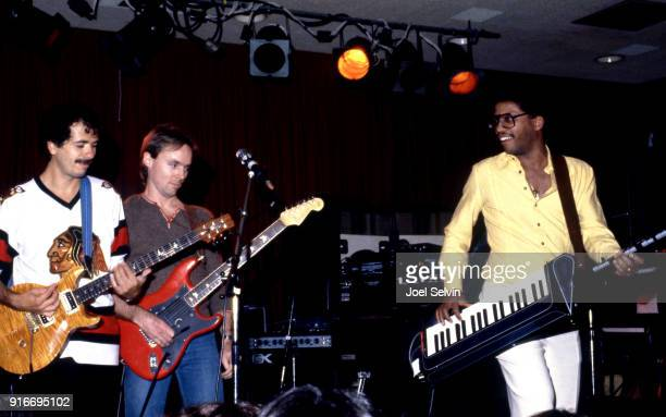 Guitarist Carlos Santana is joined by guitarist Ronnie Montrose and Herbie Hancock on keyboards at a performance by the band Santana May 23 1980 at...