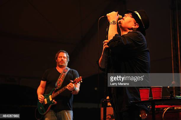 Guitarist Chan Kinchla and Singer/musician John Popper of Blues Traveler perform on stage at Seminole Hard Rock Hotel Casino's Meatopia The Q...