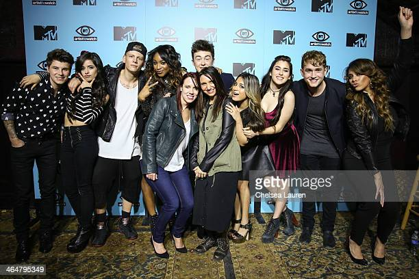 Guitarist Charley Bagnell of Rixton singer Camila Cabello of Fifth Harmony drummer Lewi Morgan of Rixton singer Normani Koredi of Fifth Harmony MTV...