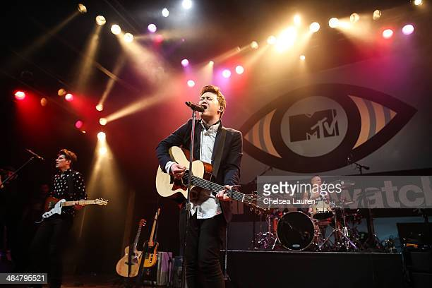 Guitarist Charley Bagnell, vocalist/guitarist Jake Roche and drummer Lewi Morgan of Rixton perform at MTV Artist to Watch kickoff event at House of...