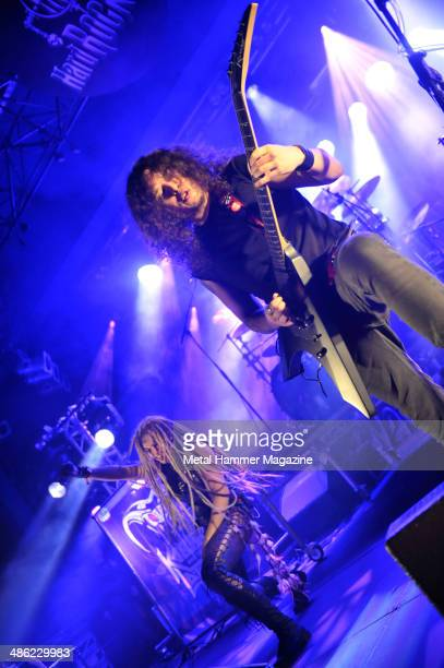 Guitarist Charlie Parra del Riego and frontwoman Kobra Paige of Canadian heavy metal group Kobra And The Lotus performing live on stage at Hard Rock...