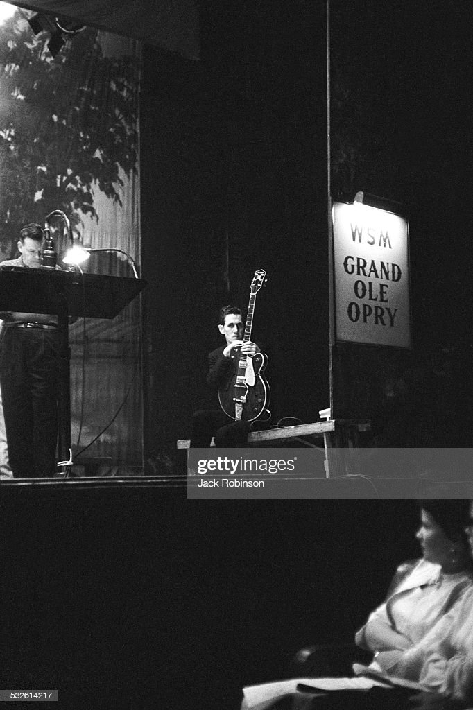 Guitarist Chet Atkins onstage at the Grand Ole Opry, 20th century.