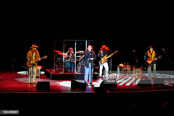 Guitarist Chris Hicks drummer BB Borden lead singer Doug Gray bassist Pat Elwood and guitarist Rick Willis of The Marshall Tucker Band perform at The...