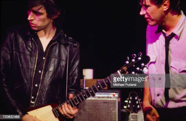 Guitarist Chris Spedding performing with Bryan Ferry at The Bottom Line, New York City, during Ferry's 'In Your Mind', solo tour, 23rd June 1977.