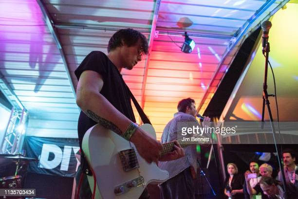 Guitarist Conor Curley and singer Grian Chatten of Fontaines D.C. Perform live on stage during the 2019 SXSW Conference and Festival at the Swan Dive...