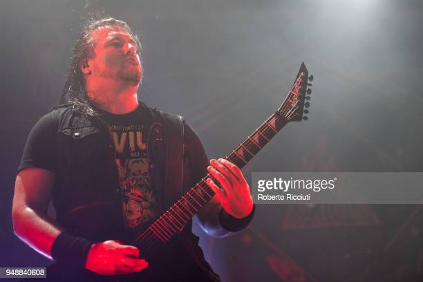 Guitarist Corey Beaulieu of Trivium performs on stage at O2 Academy on April 19 2018 in Glasgow Scotland