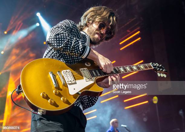 Guitarist D Wayne Sermon of Imagine Dragons performs during their Evolve World Tour 2018 at DTE Energy Music Theater on June 21 2018 in Clarkston...