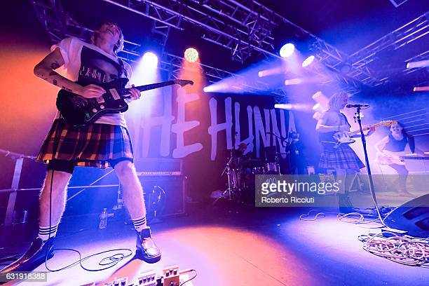 Guitarist Dan Dorney drummer Jack Metcalfe singer Ryan Potter and bass guitarist Jermaine Angin of The Hunna perform on stage at The Liquid Room on...