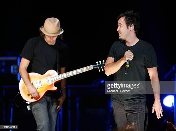 Guitarist Dan Estrin and singer Douglas Robb of Hoobastank perform at the Wiltern on September 29 2008 in Los Angeles California