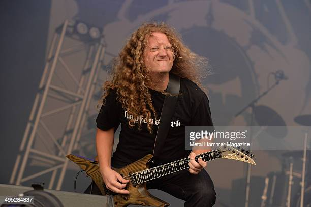 Guitarist Daniel Mongrain of Canadian progressive metal group Voivod performing live on stage at Bloodstock Open Air festival in Derbyshire England...