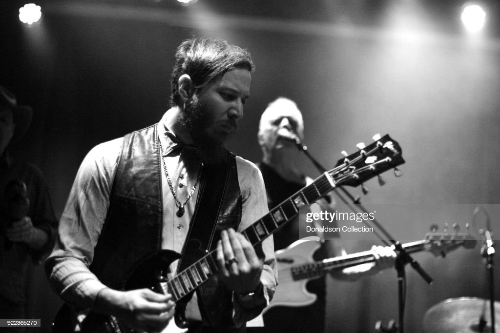 Guitarist Dante Schwebel and bassist Dave Roe of the rock band 'Dan Auerbach and the Easy Eye Sound Revue' performs onstage at the Obervatory on February 18, 2018 in Santa Ana, California.