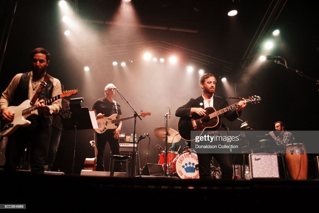 Guitarist Dante Schwebel, bassist Dave Roe, drummer Gene 'Bubba' Chrisman, kerboardist Bobby Wood and guitarist Dan Auerbach of the rock band 'Dan Auerbach and the Easy Eye Sound Revue' performs onstage at the Obervatory on February 18, 2018 in Santa Ana, California.